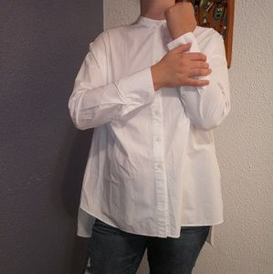 Uniqlo White Stand Up Collar Hi Low Button Up Top